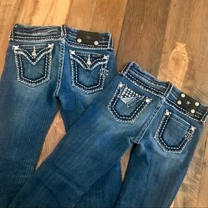 2 pr Miss Me Boot Cut Jeans girl 12